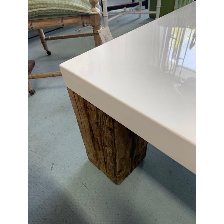 Beautiful Vintage White Lacquer Natural Wood Coffee Table At 1stdibs