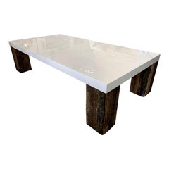 Beautiful Vintage White Lacquer Natural Wood Coffee Table