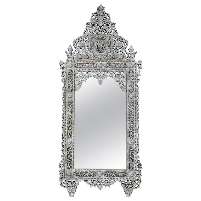 Beautiful Vintage Large Mother of Pearl Mirror For Sale