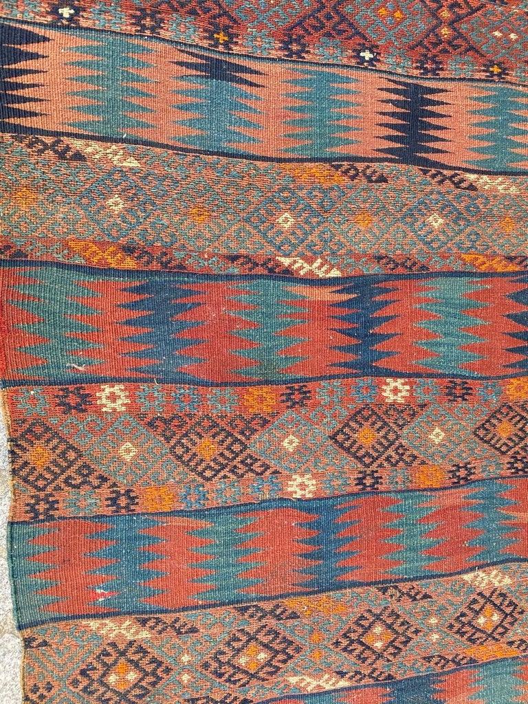 Hand-Woven Beautiful Vintage Long Turkish Kilim