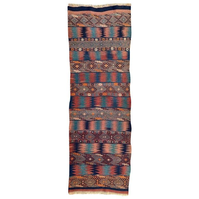 Beautiful Vintage Long Turkish Kilim