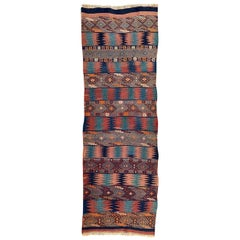Beautiful Vintage Long Turkish Kilim