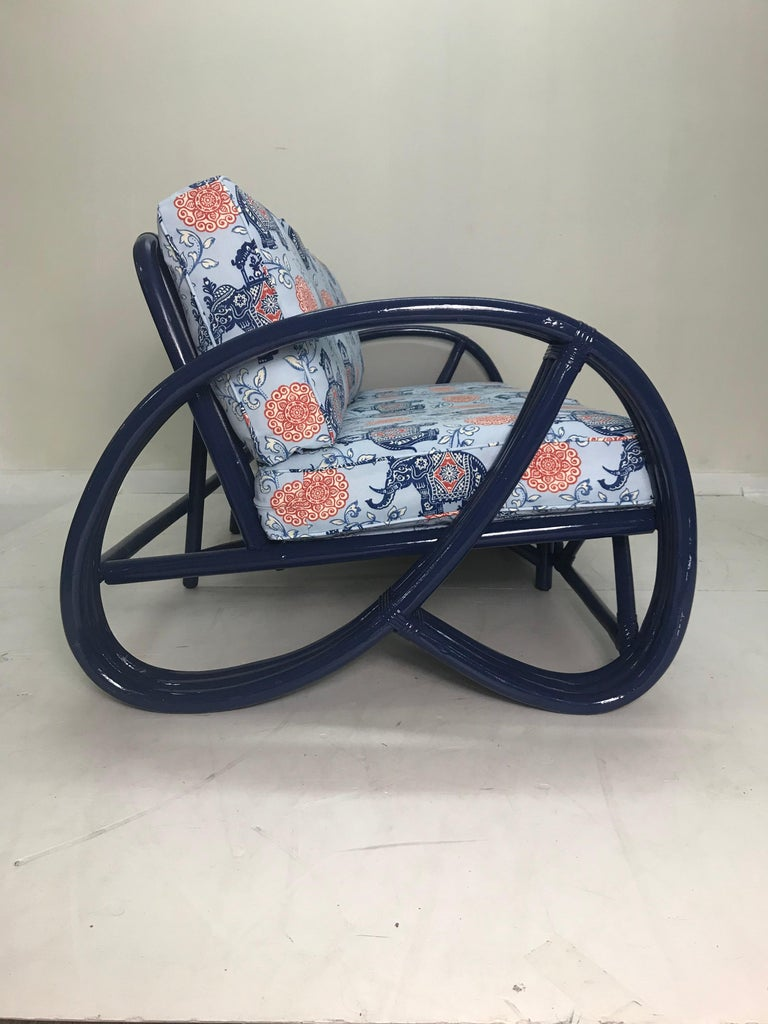 Beautiful Vintage Navy Pretzel Rattan Sofa With Pillows For Sale 1