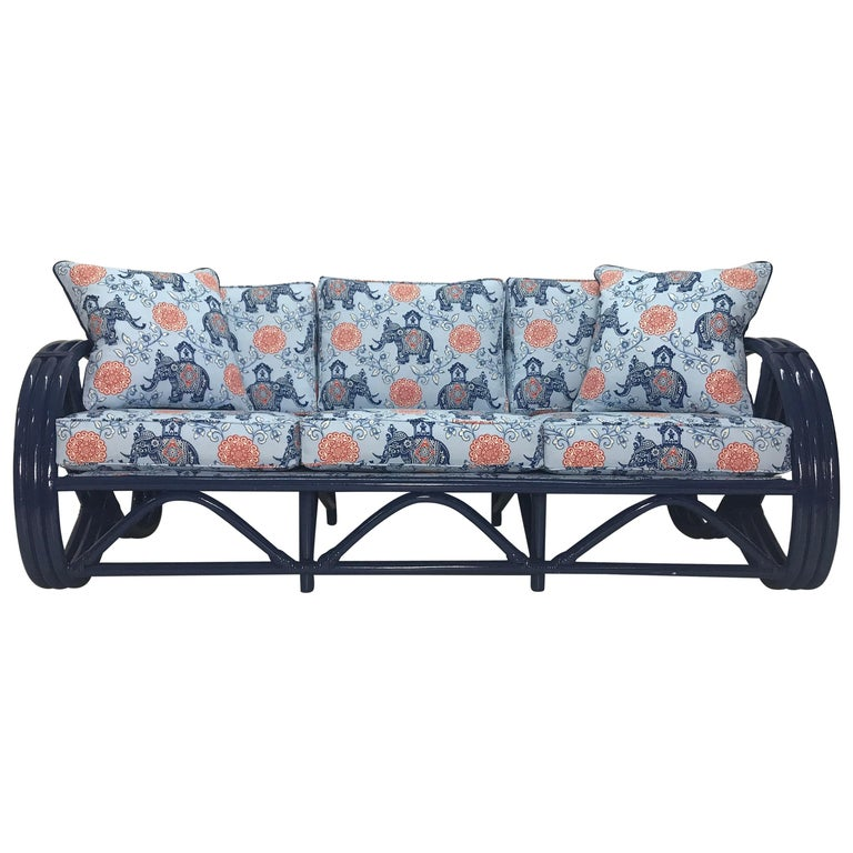 Beautiful Vintage Navy Pretzel Rattan Sofa With Pillows For Sale