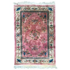 Beautiful Vintage Pink Chinese Rug