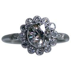 Beautiful Vintage Platinum Halo Diamond Engagement Ring, 1.73 Carat