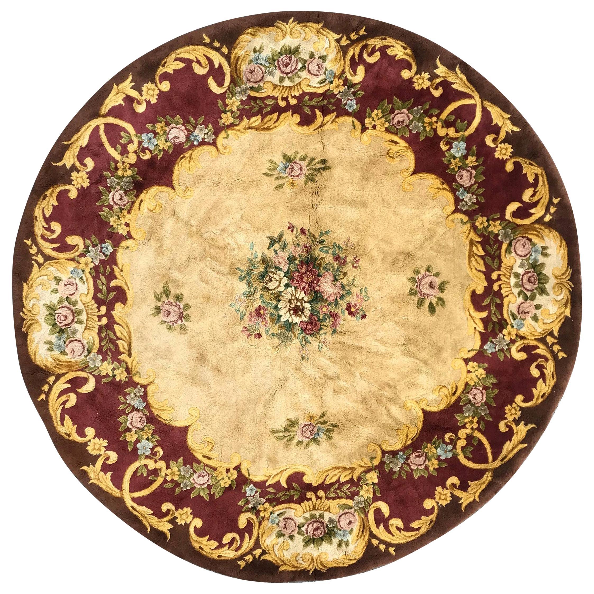 Beautiful Vintage Round Savonnerie Rug