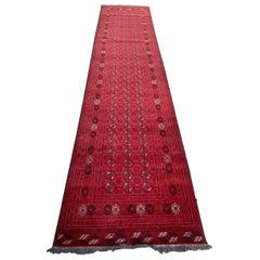 Beautiful Vintage Turkmen Afghan Bokhara Design Runner