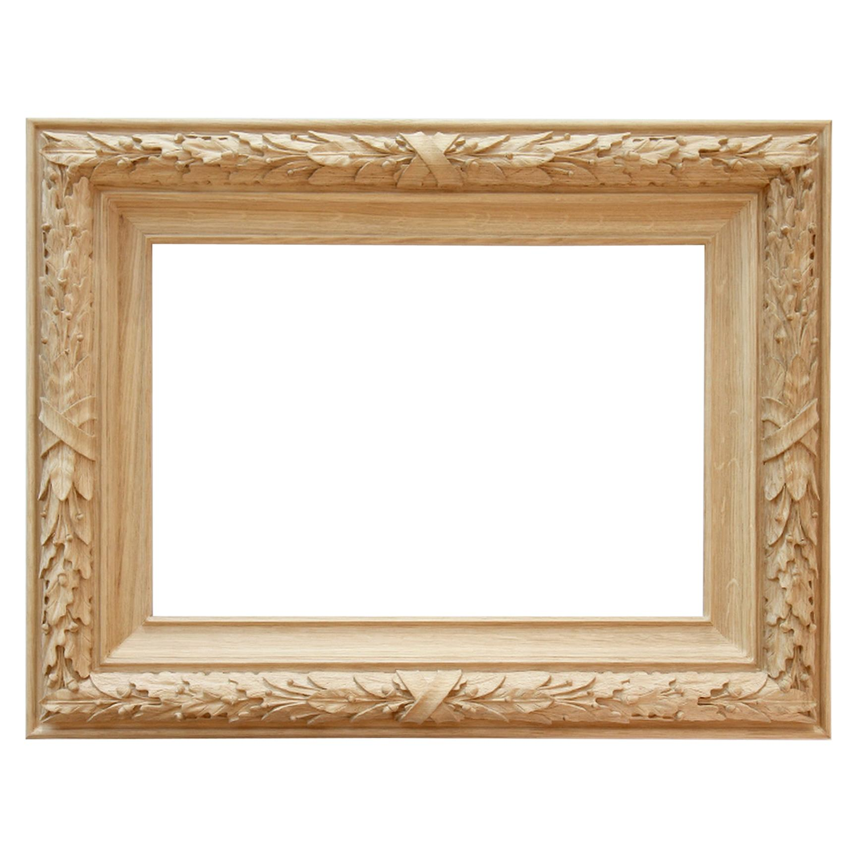 Beautiful Wall Carved Wood Mirror Frame with a pattern of oak and laurel leaves