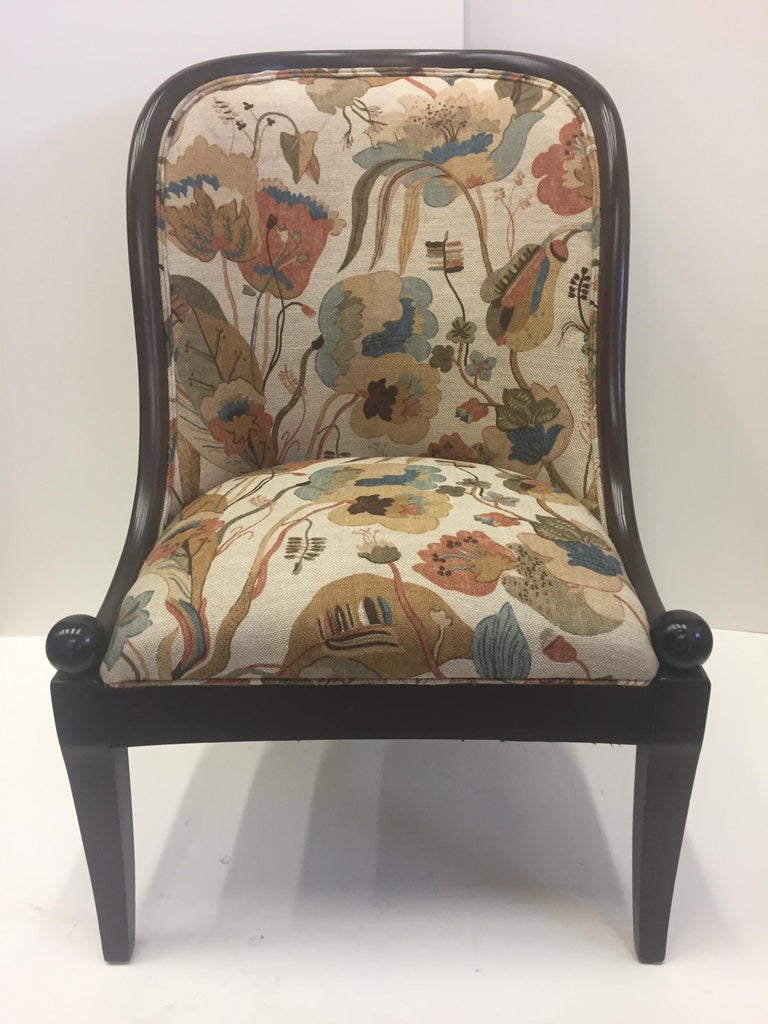 Fine barrel shaped club chair by Baker with gorgeous shape and Baker upholstery having