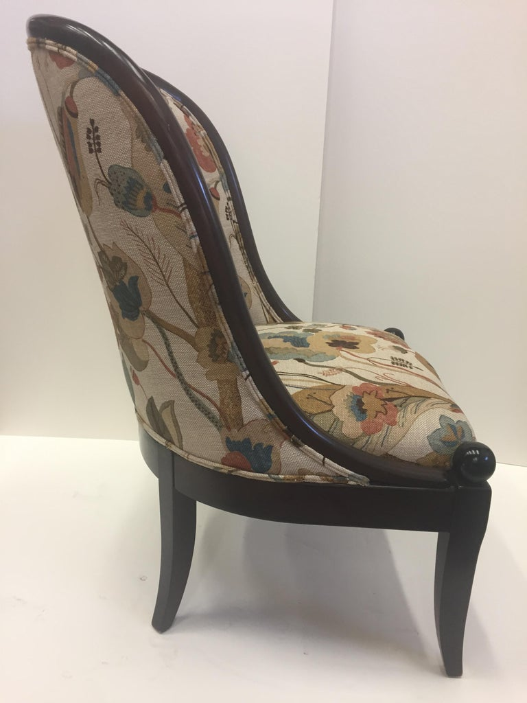 English Beautiful Walnut and Tapestry Curved Club Chair by Baker For Sale