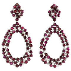 Beautiful White Gold Drop Ruby and Diamond Earrings