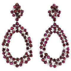 Beautiful White Gold Drop Ruby and Diamond Earrings
