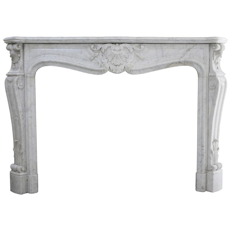 Beautiful White Marble Antique Fireplace from Louis XV, 19th Century For Sale