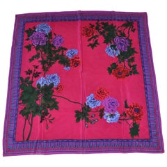 """Beautiful Winter Florals With Multi """"Feathers Borders"""" Silk Scarf"""