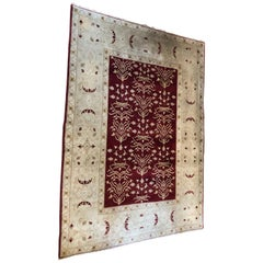 Beautiful Wool Rug in Maroon and Cream