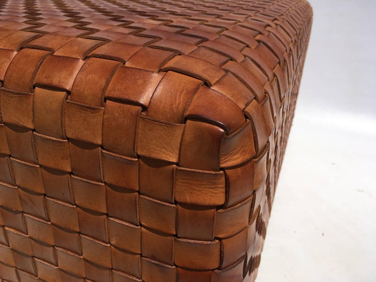 Beautiful Woven Leather Ottoman Or Coffee Table At 1stdibs