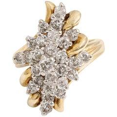 Beautiful Yellow Apx, 1 Carat 27-Diamond Waterfall Ladies Ring