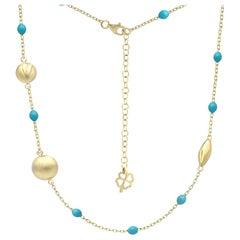 Beautiful Yellow Gold Blue Enamel 14 Karat Sautoir Long Necklace