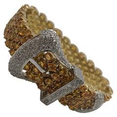 Beautiful Yellow Sapphire and Diamond Buckle Bracelet 18 Karat Two-Tone