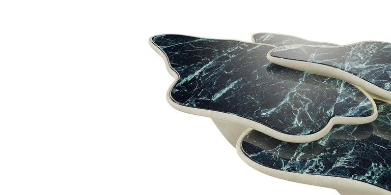 Organic Modern Beautifull Organic Coffee Table, Three Marble Trays For Sale