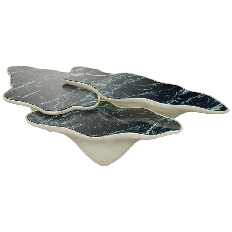 Beautifull Organic Coffee Table, Three Marble Trays For Sale
