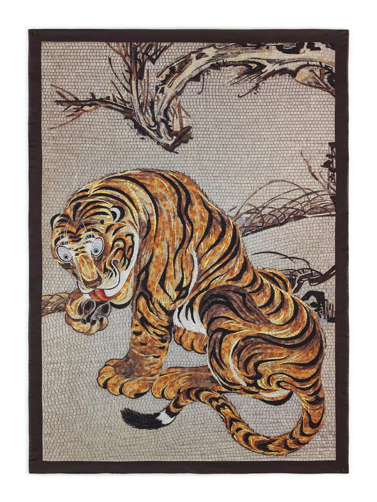 Italian Beautiful Tiger Bedcover Blanket Silk Cashmere Wood For Sale