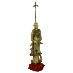 Beautifully Carved Alabaster Chinese Floor Lamp