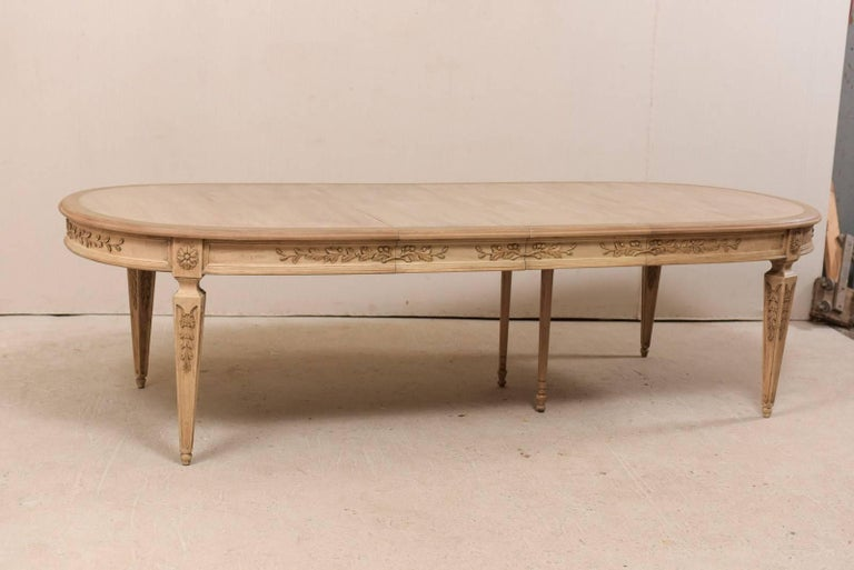 Beautifully Carved Ash Wood Oval Dining Table With