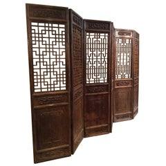 Beautifully Carved Ching Dynasty Chinese Screens