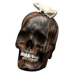 Beautifully Carved Wood and Moose Antler Skull and Frog