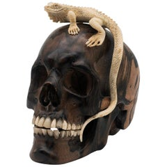 Beautifully Carved Wood and Moose Antler Skull and Lizard