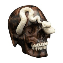 Beautifully Carved Wood and Moose Antler Skull and Snake