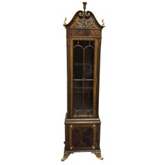 Beautifully Crafted Regency Style Burl Mahogany Maitland Smith Vitrine
