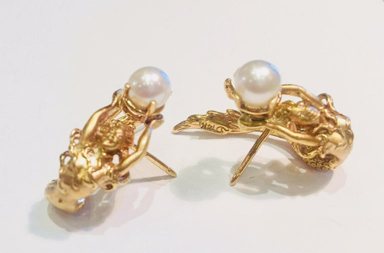 Contemporary Beautifully Detailed Mermaid Three Dimensional Yellow Gold Pearl Wrap Earrings For Sale