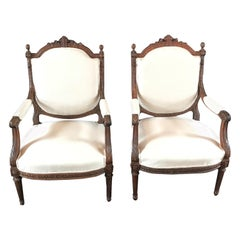 Beautifully Detailed Pair of French Carved Walnut Armchairs