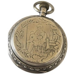 Beautifully Engraved Silver Full Hunter Case Antique Pocket Watch