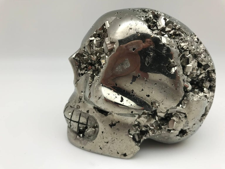 Large Pyrite Skull from Peru In Good Condition For Sale In New York, NY