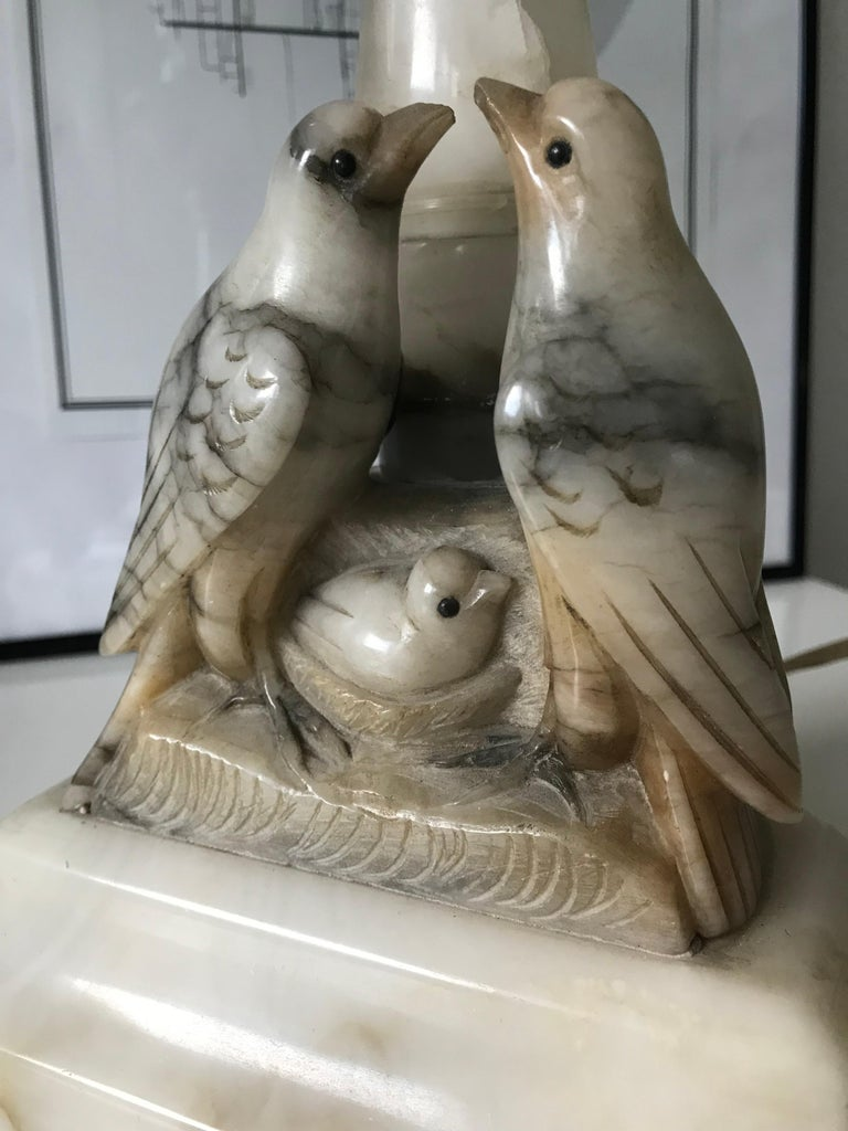 Beautifully Hand Carved Midcentury Nesting Birds Alabaster