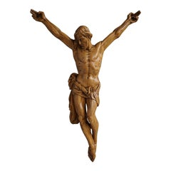 Beautifully Hand Carved Vintage Wooden Corpus of Jesus Christ for Wall Mounting