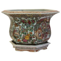 Beautifully Hand-Painted Octagonal Jardinière with Plate