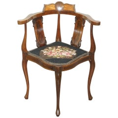 Beautifully Inlaid Sheraton Revival Victorian Corner Chair, Sublime Quality