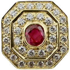 Beautifully Made Ruby and Diamond Ring in 18 Karat Yellow Gold