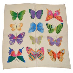 "Beautifully Multicolor Detailed Hand-Painted ""Butterflies Collection"" Silk Scarf"