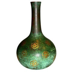 Beautifully patinated inlaid Christofle bronze vase