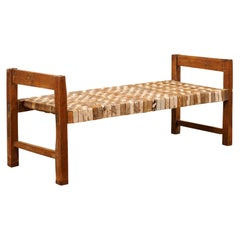 Beautifully Rustic Brazilian Day Bench with Woven-Leather Seat, Mid-20th Century