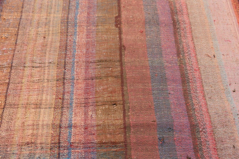 Hand-Woven Beautifully Striped Decorative Vintage Persian Kilim Rug. 8 ft 4 in x 11 ft 5 in For Sale