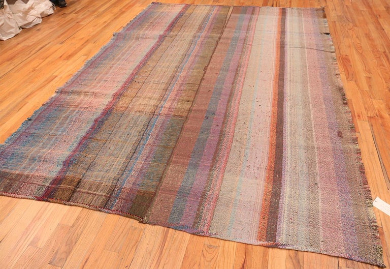 Wool Beautifully Striped Decorative Vintage Persian Kilim Rug. 8 ft 4 in x 11 ft 5 in For Sale