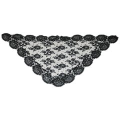 Beautifully Thick Bold Floral Netted Black Scarf with Large Floral Scallop Edges