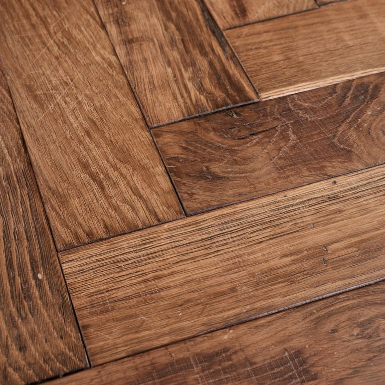 British Beauvais Oak Parquet Rusticated French Oak Block Flooring For Sale